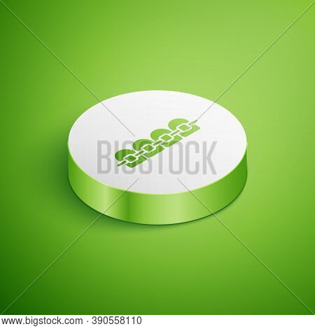 Isometric Teeth With Braces Icon Isolated On Green Background. Alignment Of Bite Of Teeth, Dental Ro