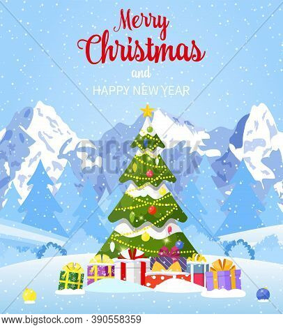 Christmas Card. Christmas Landscape Background Withwith Christmas Tree With Gifbox. Merry Christmas