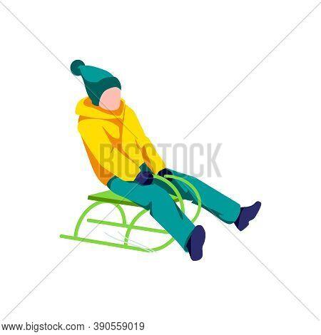 Child Sledding Down Snow Hill. Boy In Winter Clothing Riding Sledding Slide. Winter Sports Activitie