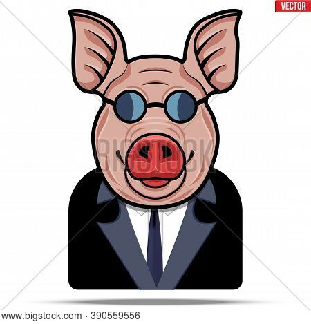 Pig In A Suit And Glasses. Businessman In The Guise Of A Boar. Unclean And Fraudulent Business Conce