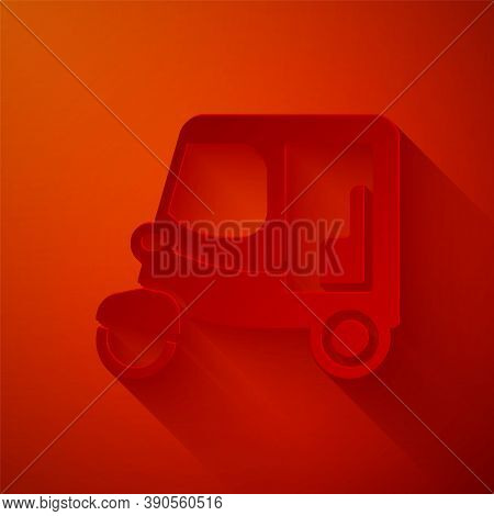 Paper Cut Taxi Tuk Tuk Icon Isolated On Red Background. Indian Auto Rickshaw Concept. Delhi Auto. Pa