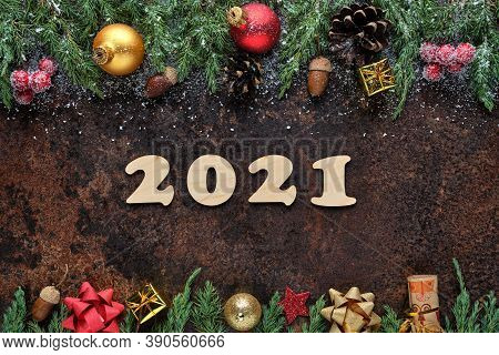 New Years Eve Festive Background With Wooden Numbers 2021 And Christmas Decorations On Stone Surface