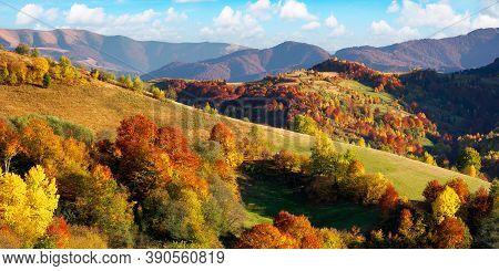 Beautiful Mountain Landscape On A Sunny Day. Wonderful Countryside Scenery In Autumn Season. Rural F