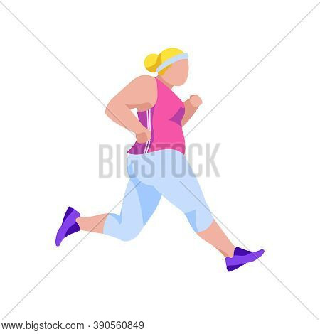 Plus Size Girl Jogging. Side View Of Plump Overweight Girl In Tracksuit Doing Morning Workout. Weigh