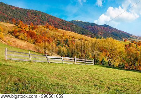 Rural Landscape In Mountains. Fence On The Hill. Scenery In Fall Colors. Beautiful Sunny Weather Wit