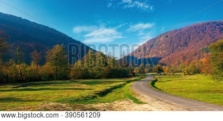 Trees Along The Countryside Valley. Beautiful Autumn Scenery In Mountains. Forest On Hills In Fall C