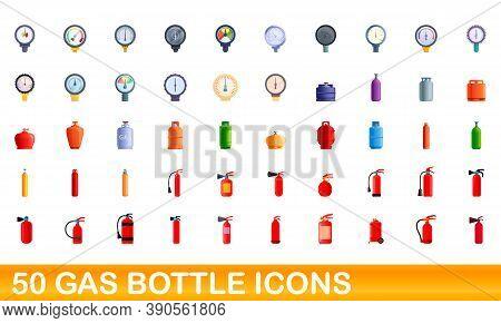 50 Gas Bottle Icons Set. Cartoon Illustration Of 50 Gas Bottle Icons Vector Set Isolated On White Ba