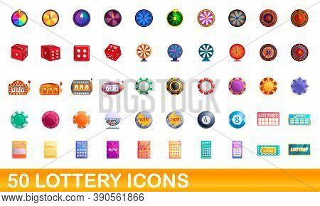 50 Lottery Icons Set. Cartoon Illustration Of 50 Lottery Icons Vector Set Isolated On White Backgrou