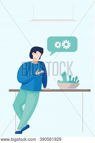 Businessman Stands At Full Height, Rests His Hand On The Table, Tells Something. Vector Illustration
