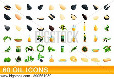 60 Oil Icons Set. Cartoon Illustration Of 60 Oil Icons Vector Set Isolated On White Background