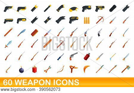 60 Weapon Icons Set. Cartoon Illustration Of 60 Weapon Icons Vector Set Isolated On White Background