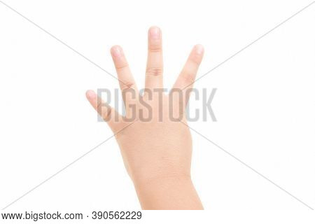 Hand Shown Four Finger Symbol On Isolated White Background For Graphic Designer.