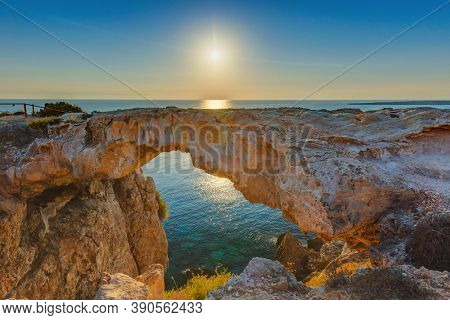 Famous stone Sin Bridge at sunrise in Ayia Napa Cyprus - nature background