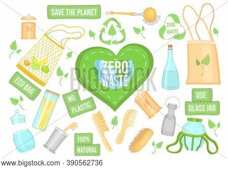 Zero Waste Collection. Eco Concept, No Trash Life. Set Of Durable And Reusable Products Or Things -