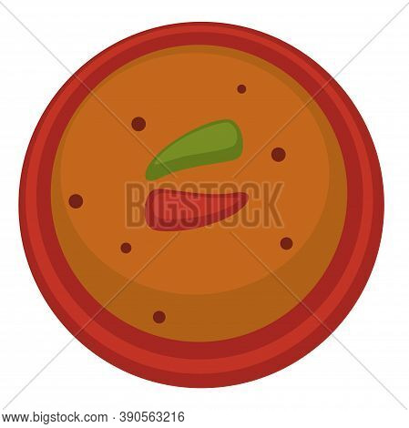 Gazpacho Or Tomato Soup With Chili Pepper Vector