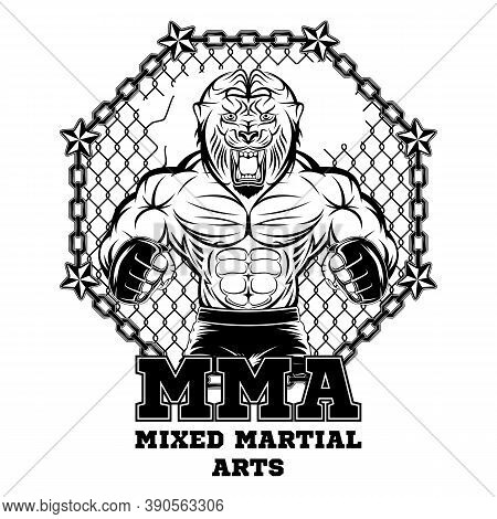 Lion Mascot For Mixed Martial Arts. Mma. Octagon. Champion Of Battle. Vector Illustrations For T Shi