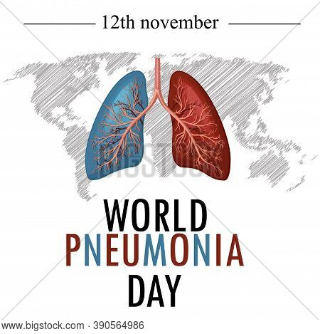World Pneumonia Day 12 November. Stop Pneumonia. Save A Child. Every Breath Counts Vector Illustrati