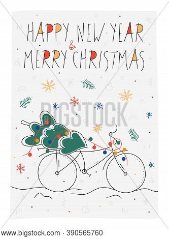 Blue Bright New Year Doodle Card With Christmas Tree And Lettering Merry Christmas. Christmas And Ne