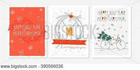Set Of Four Bright Christmas Cards. Christmas And New Year Postcards. Hand Drawn Style. Flat Doodle