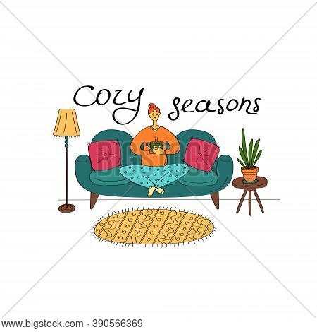 Cozy Seasons. Cute Young Woman Sitting On Sofa And Holding Cup Of Tea. Cozy Home Interior. Flat Hand