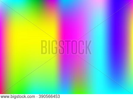 Hologram Abstract Background. Multicolor Gradient Mesh Backdrop With Hologram. 90s, 80s Retro Style.