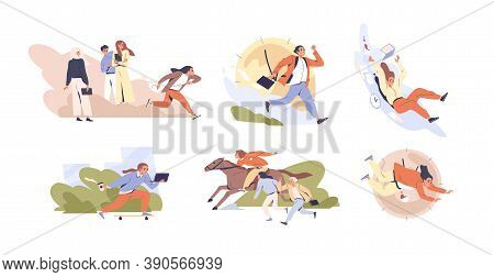 Set Of Scenes Of Hectic Pace Of Life Vector Flat Illustration. Collection Of Different People In Hur