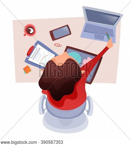 Office Table Topview Illustration Of Businesswoman Working, Analyses Data At The Laptop, Using Table