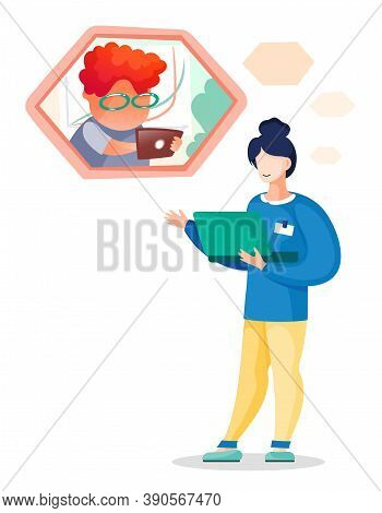 Vector Flat Illustration Of Businesswoman With Laptop Talking With Colleague With Tablet By Videocal