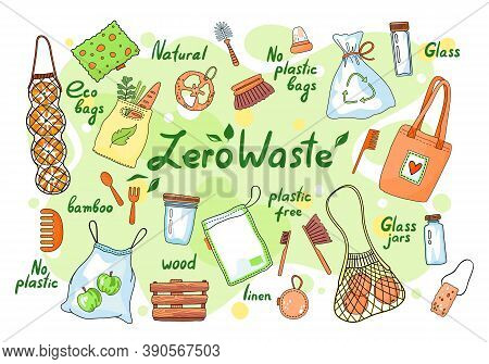 Set Of Zero Waste Elements And Lettering. Zero Waste Doodles No Plastic, Garbage Sorting Campaign Sy