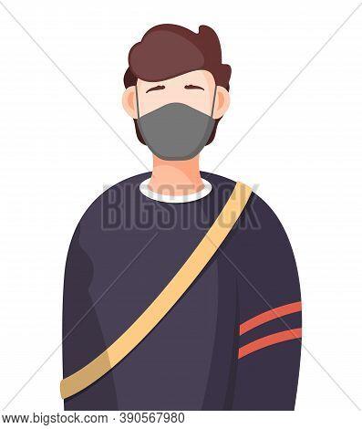 Young Man Wearing Face Medical Mask Standing At White Background. Viral Pandemic. Coronavirus 2019-n