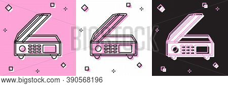 Set Scanner Icon Isolated On Pink And White, Black Background. Scan Document, Paper Copy, Print Offi