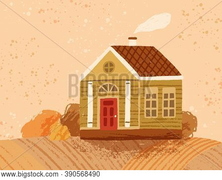 Hand Drawn Countryside Autumn Landscape With Cute Peasant House. Colorful Wooden Farmhouse. Rustic S
