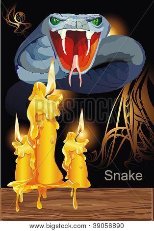 Agressive Poisonous snake. Halloween Set - vector illustration