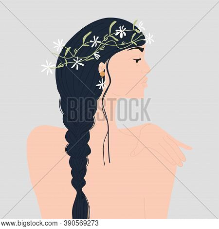 Naked Woman With Long Hair And Beautiful Flowers Wreath On Her Head. Vector Illustration
