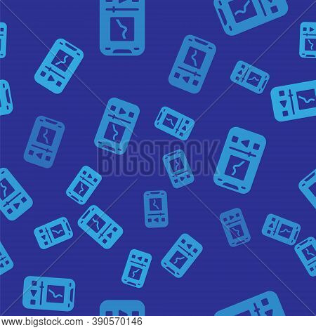 Blue Music Player Icon Isolated Seamless Pattern On Blue Background. Portable Music Device. Vector
