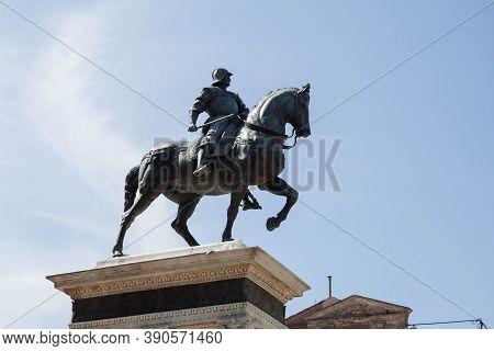 Statue Of Bartolomeo Colleoni Of 15th Century, Venice, Italy. Old Monument, Bronze Sculpture Of The