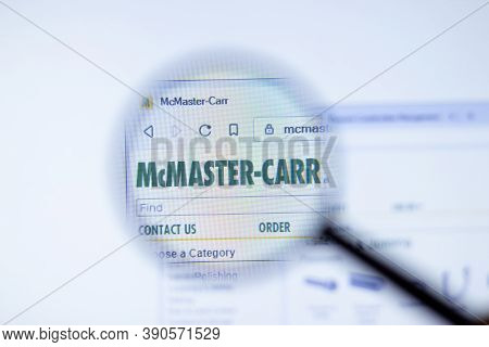 New York, Usa - 29 September 2020: Mcmaster.com Mcmaster-carr Company Website With Logo Close Up, Il
