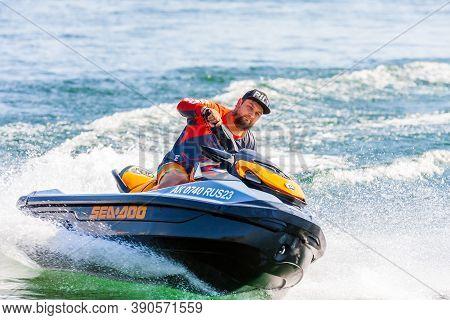Krasnodar, Russia - July 25, 2020: Jet Ski Watercraft Driver In Action On Summer Sunny Day