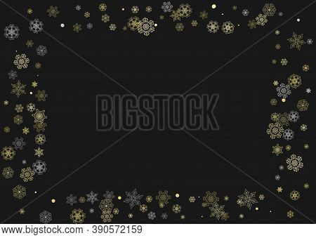Glitter Snowflakes Frame On Black Horizontal Background. Shiny Christmas And New Year Frame For Gift