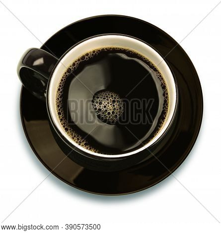 Brown Ceramic Cup Filled With Black Coffee, Top View, Isolated On White Background