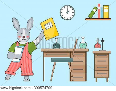 Cute Cartoon Children S Illustration. Animal Student. Bunny In Red Overalls Holding Notebook, Papers