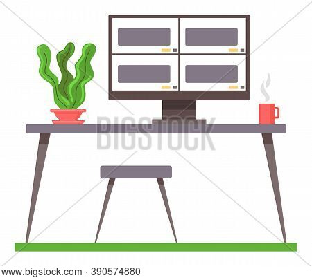 Place For Work. Table With Chair, Computer Monitor Turned On, Green Plant In Pot, Cup Of Hot Coffee