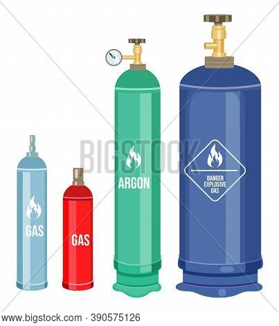 Collection Of Cartoon Vector Icons. Gas Cylinders, Balloons With Gas, Argon. Danger Explosive Gas, W