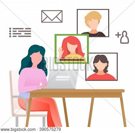 Woman Talking With Videocall. Video Conference At Laptop, Online Conversation With Colleagues. Girl