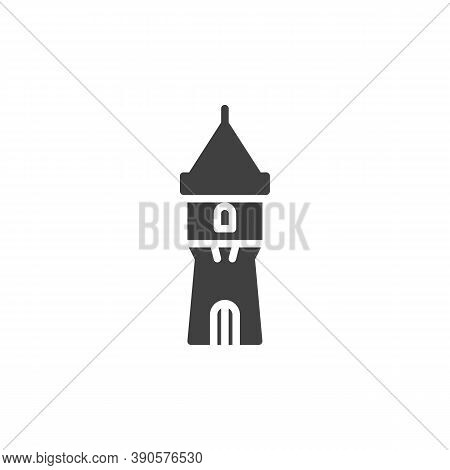 Medieval Tower Vector Icon. Filled Flat Sign For Mobile Concept And Web Design. Ancient Castle Tower