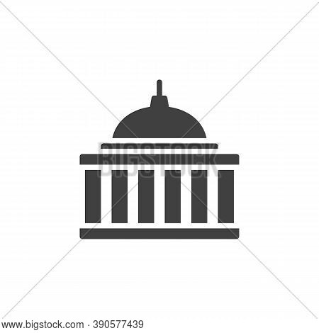 Capitol Building Vector Icon. Courthouse Filled Flat Sign For Mobile Concept And Web Design. Capitol