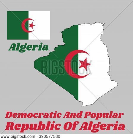 Map Outline And Flag Of Algeria, It Is Consists Of Two Equal Vertical Bars, Green And White, Charged