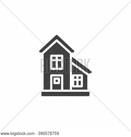 Townhouse, Cottage Building Vector Icon. Filled Flat Sign For Mobile Concept And Web Design. Country