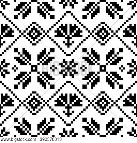 Traditional Ukrainian And Belarusian Folk Art Vector Seamlesss Black Pattern - Inspired By Old Cross