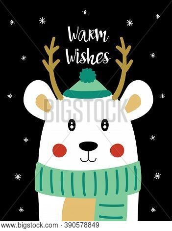 Christmas Card With Polar Bear In Hat, Scarf And Lettering Warm Wishes, Vector Illustration, Simple
